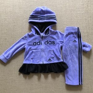 Adidas lavender velour hooded sweatsuit 18 months
